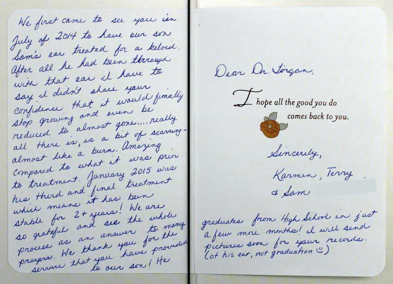 Thank you card sent to Dr. Tirgan by the family of one of his patients